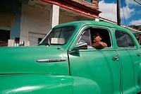 Vintage car in a street of Vinales, Pinar del Río Province, Cuba, Latin America