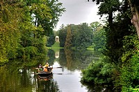 Rowboat going across the lakes and canals at Schoch´s Garden, Kleines Walloch watercourse and the Venus Temple, Dessau_Woerlitz Garden Realm, UNESCO W...