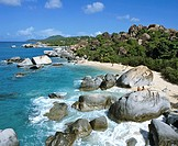 Rocks on a beach, British Virgin Islands, Lesser Antilles, Caribbean
