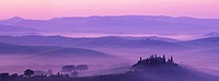 Morning mist over Podere Belvedere, Val d´Orcia, Tuscany, Italy, Europe