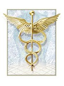 Caduceus, computer artwork. The caduceus is an ancient symbol that is often associated with the medical profession. It is often confused with the rod ...