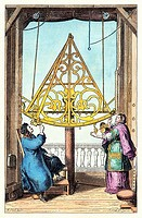 Astronomical sextant. Historical artwork of Johannes Hevelius 1611_1687 and his wife Elisabetha 1647_1693 observing with a sextant designed by Johanne...