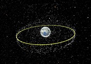 Space debris. Computer artwork showing space debris in low Earth orbit LEO, up to 2000 kilometres altitude and geostationary Earth orbit GEO, around 3...