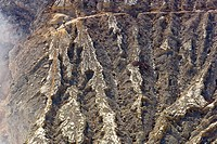People, including man carrying sulphur on rim of volcano, Kawa Ijen, Ijen Plateau, East Java, Indonesia. People on rim of volcano including sulphur wo...