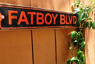 Fatboy Blvd sign on fence
