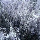 Winter landscape, valley, brook, forest, snow_covered,