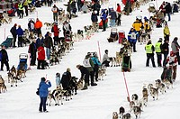 Participants, dogsled race, Finnmarkslopet, Alta, Finnmark, Norway