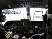 Cockpit, pilots. Svalbard, Norway