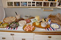 Traditional midsummer buffet with herring, egg and salmon, cheese and hard bread or crackers. Medevi, Sweden