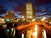 Water fire, a series of 100 bonfires that blaze just above the surface of the three rivers that pass through the middle of downtown Providence, Rhode ...