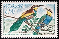 European Bee-eater (Merops apiaster), stamp, France