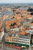 The Markt Market Place, view from the Belfry  Brugge,the Venice of the North  Western Flanders  Belgium