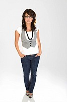 Woman wearing a vest and glasses