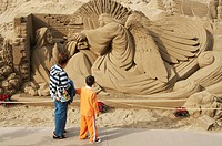 Sand Sculpture nativity scene on Playa de Las Canteras on Gran Canaria in The Canary Islands