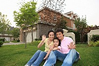 Chinese Families Sitting On Lawn,Beijing
