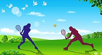 Tennis Play,Composite Illustration
