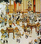 paint about group of ancient people playing stilts for Chinese New Year