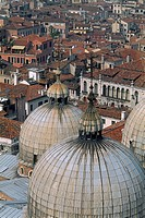Italy _ Venice _ Domes of Saint Mark Basilica _ aerial view _ old city rooftops