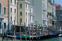 Italy _ Venice _ parked gondolas on the Gran Canal