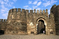 Fortification and main entrance Gate of Iron , Daulatabad fort , Aurangabad , Maharashtra , India
