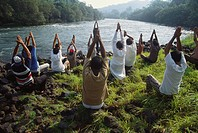 Yoga on river side , Maharashtra , India