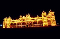 Illuminated Mysore palace , Mysore , Karnataka , India