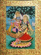 Radha Krishna miniature painting on paper with golden embossing