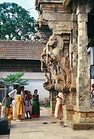 Beautifully worked statues at Sri Padmanabhaswami temple , Trivandrum , Kerala , India
