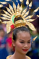 Traditionally dressed woman, Ubon Ratchathani, Thailand