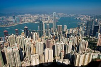 Cityscape with harbour, Hong Kong, China