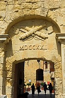 City gate at Poste de France and Malta at War Museum, Valetta, Malta