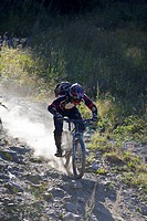Mountain biker riding fast