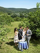 Wedding couple cutting cake in garden