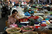 Market in the old part of town, Hanoi, Vietnam, Asia