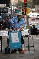 Man selling almonds in the streets, Buenos Aires, Argentina