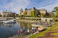 Empress Hotel and Inner Harbour waterfront, Victoria, Vancouver Island, British Columbia, Canada