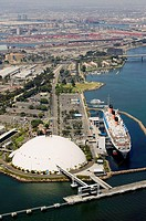 Aerial view of the RMS Queen Mary in Long Beach, California