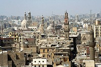 Old Cairo cityscape taken from Bab Zuwayla Gate of Zuwayla, medieval gate, Cairo, Egypt
