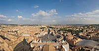 View of the city and St. Peter's Square as seen from the dome of St. Peter´s Basilica, Rome, Italy, Europe