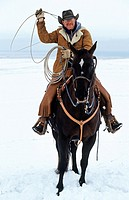 Lasso-swinging cowboy, Canada