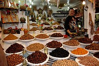 Vendor for nuts and dried fruit medina Fes El Bali Morocco