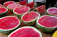 Watermelons for sale at market, Santanyi. Majorca, Balearic Islands, Spain
