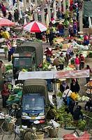 China. Yunnan Province. Erhai Hu Lake Area. Xizhou: Xizhou town market. market overview