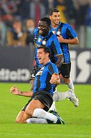dejan stankovic celebrates his goal,roma 19_10_2008,serie a football championship 2008_2009,roma_inter 0_4,photo mezzabarba/markanews