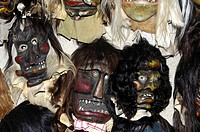 Tschaeggaetae, traditional wooden mask made of Swiss pine wood, mask workshop Wiler, Loetschental, Valais, Switzerland