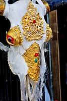 Golden ornamented Yak skull, Lhasa, Tibet