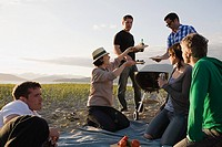 Friends having a barbecue on an island