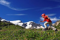 Swiss Alps, boy, Swiss clothing, run, running, fun, enjoying, leisure, recreation, hiking, one child, children, flower