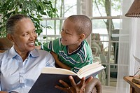 A grandmother and grandson reading a book