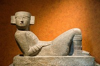 Mexico, Mexico City, Museo Nacional de Antropologia, ancient stone sculpture of Chac Mool